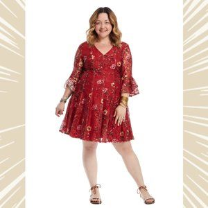 Red Lace fit-and-flare dress with  bell sleeves